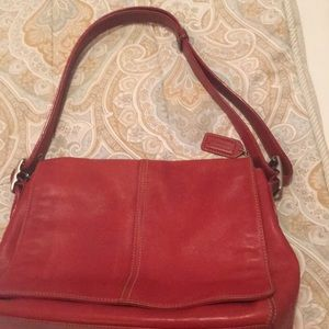 Red leather coat purse and wallet combo